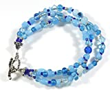 Style-ARThouse Blue Becomes You Czech Glass Three Strand Bracelet, 7.5 Inches