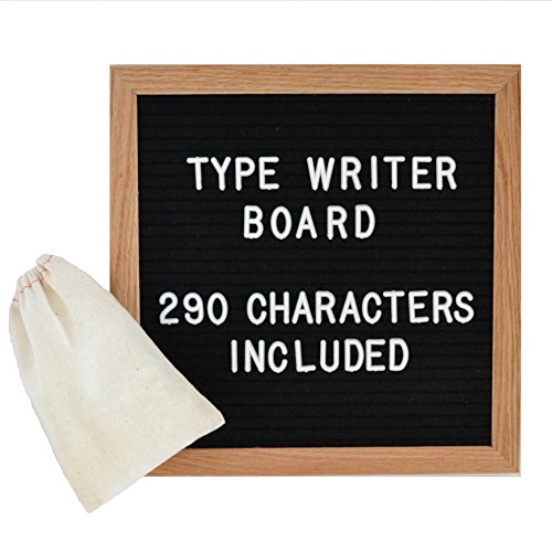Letter Board – Black Felt with 290 White Plastic Changeable Characters – 10 in. x 10 inches Square Wood Oak Frame – 4x6 inch Canvas Bag Holds Pieces - Vintage Inspired Display by Type Writer (Dry Erase Thermometer Chart)