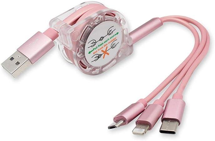 Prinfong Triple c/âble USB Chargeur de t/él/éphone 3 en 1 Chargeur USB C/âble de Date t/élescopique T/él/éphone Cordon de Charge Accessoires de t/él/éphone
