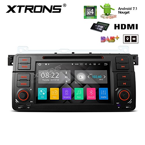 Stereo Hatchback System - XTRONS HDMI Android 7.1 Quad Core 7 Inch HD Digital Touch Screen Car Stereo Radio DVD Player GPS for BMW E46 /320/325 Rover 75 MG ZT
