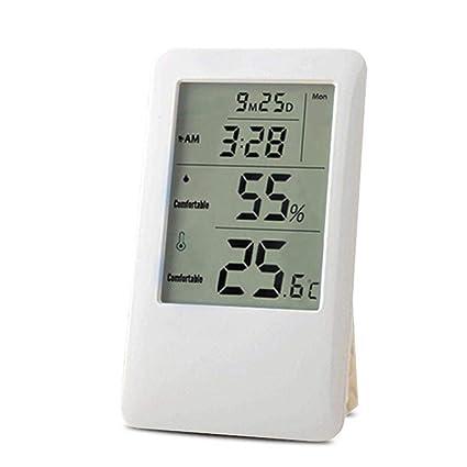 Ruier-hui Termohigrómetro Interior 4 en 1, termómetro húmedo para habitación de bebés -