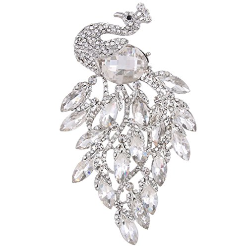 EVER FAITH Women's Rhinestone Crystal Elegant Party Peacock Bird Brooch Clear Silver-Tone (Silver Bird Pin)