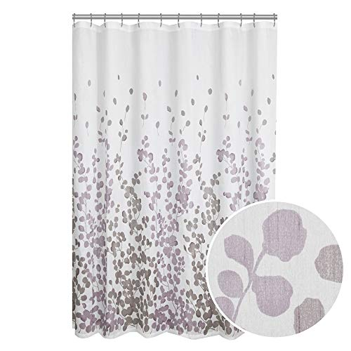MAYTEX Sylvia Printed Faux Silk Fabric Shower Curtain, Purpl
