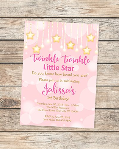 Twinkle Twinkle Little Star Birthday Party Invitation, Pink And Gold Birthday Invitation, Twinkle Twinkle Birthday Invitation -