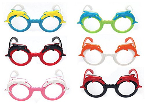 Set of 6 Kids Without Lenses Retro Glasses Party Supplies Children Colorful Fashion Cute Glasses Frame(Colour Random) - Nerd Glasses For Toddler