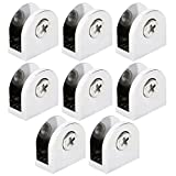 uxcell Zinc Alloy Home Adjustable Door Glass Clamp Brackets Clips Holder Support 8pcs