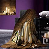 Anniutwo Spa Warm Microfiber All Season Blanket Winter Valentines Day Couples Themed Candle Flowers Stones Image Print Print Image Blanket 62''x60'' White Black Brown