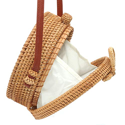 Happy Lily Women Handwoven Round Rattan Bag, Round Woven Straw Bag, Round Purse, Circle Tropical Beach Crossbody Bag with Cotton Fabric Inside and Cross ()
