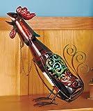 Metal Rooster Figurine Wine Bottle Holder