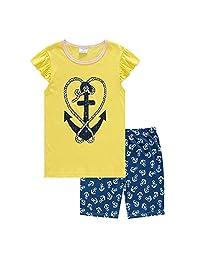 Hooyi Baby Girl Sleepwear Cotton Children Short Sleeve Love Sword Pajamas Set