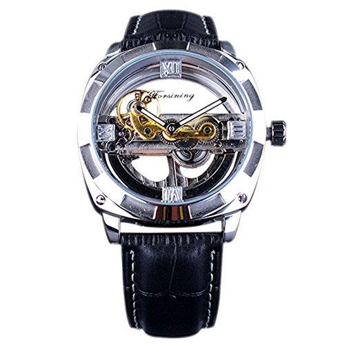 Forsining de doble cara plata transparente caso Fashion Business muñeca reloj esqueleto automático hombres reloj