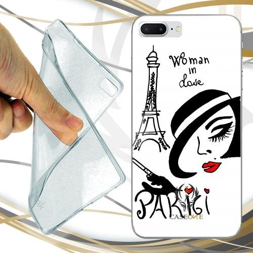CUSTODIA COVER CASE CASEONE WOMAN IN LOVE PARIGI PER IPHONE 7 PLUS