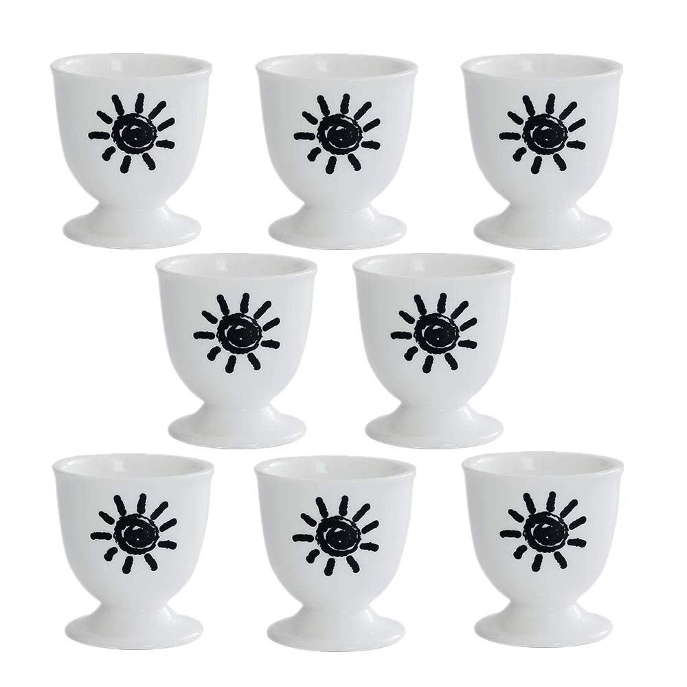 OnePine Set of 8 Porcelain Egg Cups, Elegant Ceramic Egg Cups Holder Perfect for Kitchen
