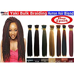 "Yaki Bulk Braiding Hair, Human Hair Blend, Braids Hair Extensions for Twists, Hot Selling, Length 18"", 2 packs Color #1 Jet Black"
