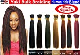 "Yaki Bulk Braiding Hair, Human Hair Blend, Braids Hair Extensions for Twists, Hot Selling, Length 18"", 2 packs Color #1B Off Black"