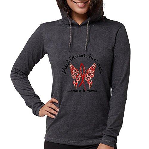 CafePress - Heart Disease Butterfly 6.1 Long Sleeve T-Shirt - Womens Hooded Shirt Heather Grey