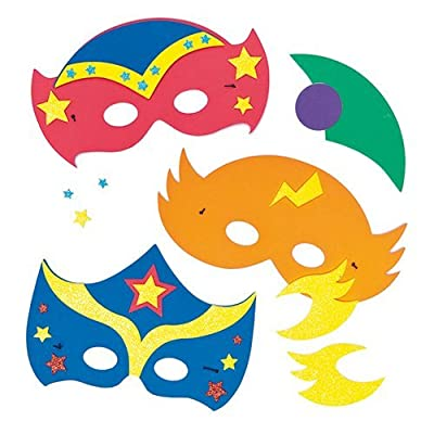 Baker Ross Star Hero Foam Face Disguise Kits (Pack of 4) for Kids to Decorate and Wear: Toys & Games