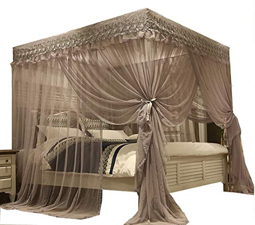 Mengersi Princess 4 Corners Post Bed Canopy Bed Curtains Mosquito Net for Adults &Girls Boys (King, Gray) ()