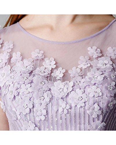 Beauty Violett Ohne Arm Mesh Emily Rundkragen Zurück LinieApplikationen Through A See Abendkleider rrq7PA1H