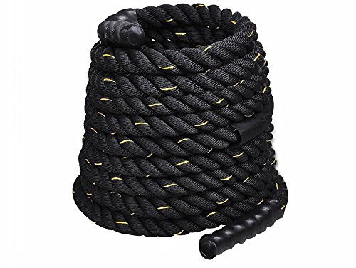 2''x40FT Black Polyester Dacron Rope Cardio Training Physical Fitness Battle Exercise Cardiovascular Undulation Strength Workout Boxers Mixed Martial Artists Wear Resistant and Durable
