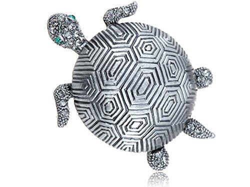 (Alilang Silvery Tone Clear Crystal Colored Rhinestones Sea Turtle Tortoise Brooch Pin)