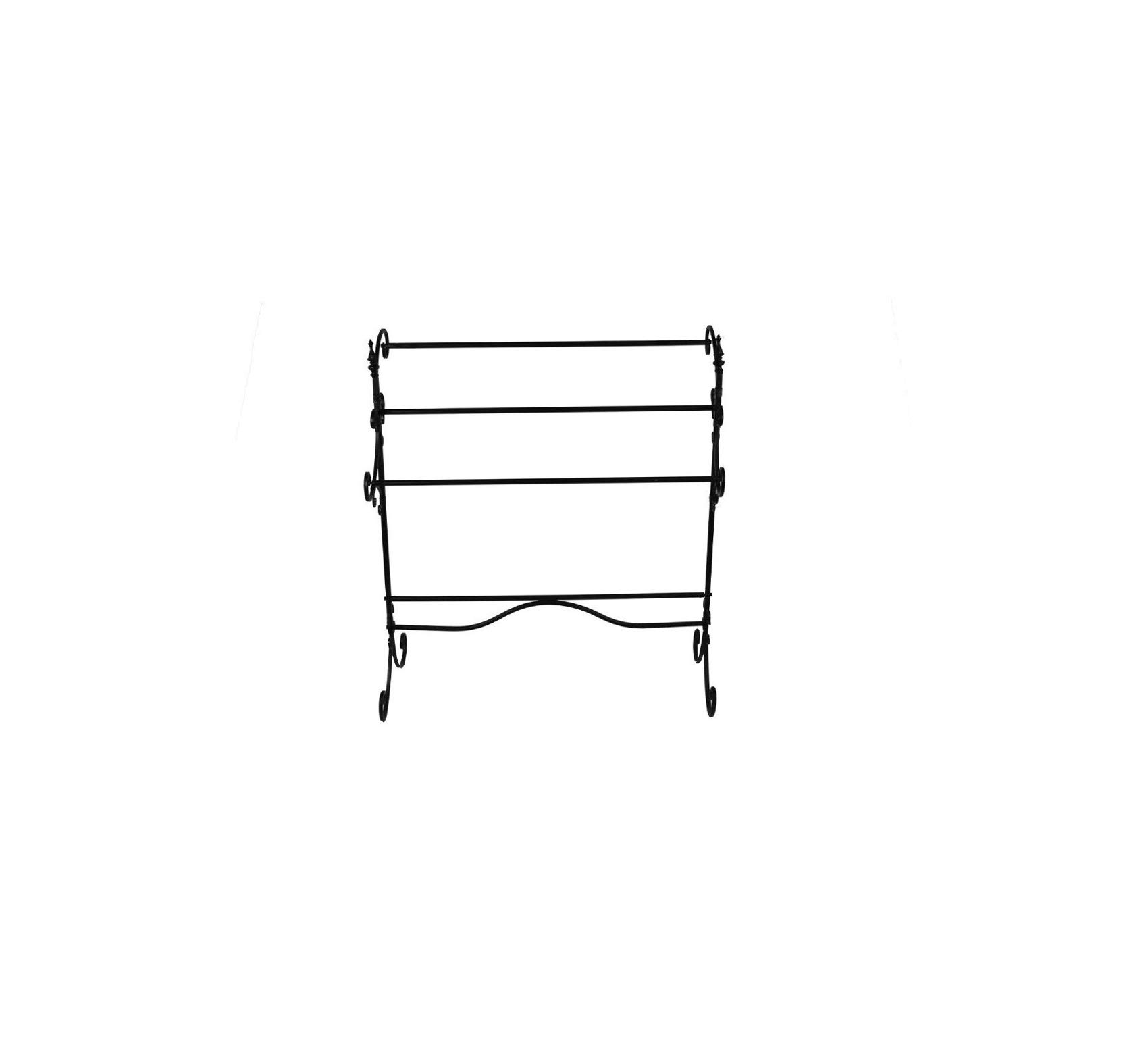 Wood & Style Spacious Metal Blanket Rack with Three Bars, Black Comfy Living Home Décor Furniture Heavy Duty