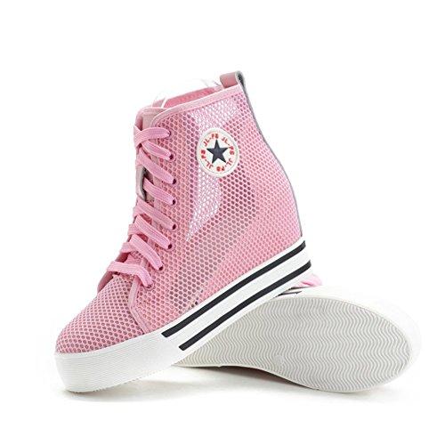 Shenn Mujer Lujoso Respirable Nylon Pantalla Malla Cuña Zapatillas 6856 Rosa