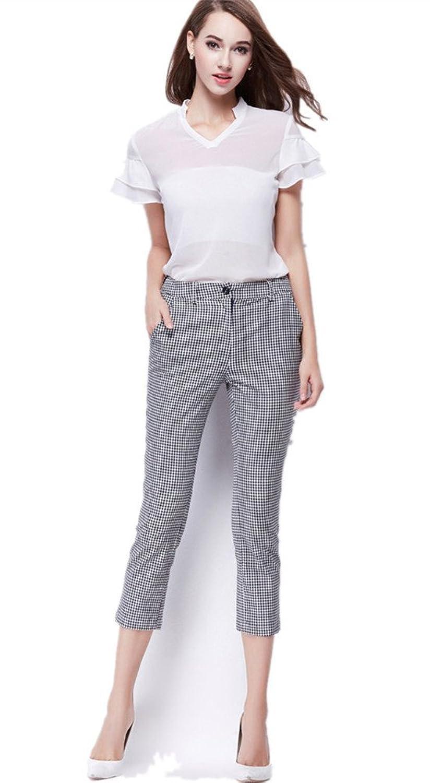 VANGULL Women Ladies Casual Slim Lattice Capri Cropped Trousers Pants
