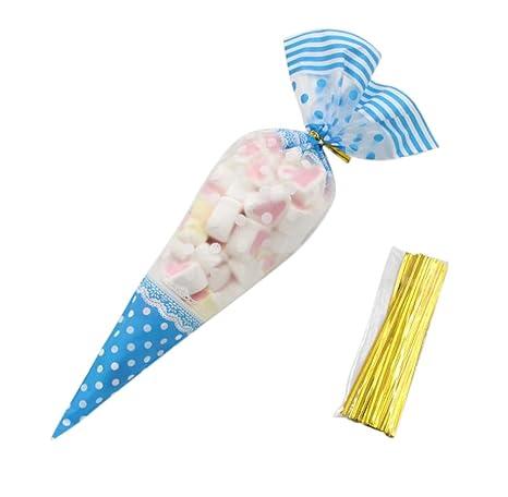 MoGist 50 Unidades Cone Bolsa Transparente Cono Bolsillos Bolsas de Caramelos Dulces Regalo del Paquete Bolsas con Presilla, Azul, 17 * 30CM