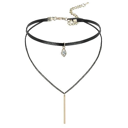 a4705d6a70e0 gnzoe joyas mujer Choker Cadena Ajustable piel Rectangular rayas Forma  Colgante Gótico Collar oro negro 33.5 + 8 cm  Amazon.es  Joyería