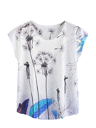 (Milumia Chiffon Tops Short Sleeves Summer Shirts Floral Print Blouses S White Blue)