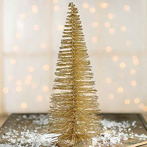 Factory Direct Craft Sparkling Gold Glittered Bottle Brush Holiday Miniature 10 Inch Tree for Embellishing Christmas and Holiday Displays