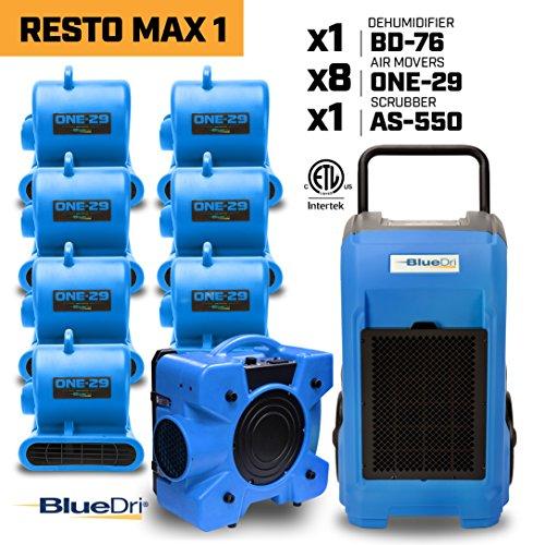 BlueDri RESTO MAX 18 x 1/3 HP One-29 Air Movers Carpet Dryer Blower Floor Fan1 x 76 Pint Commercial Dehumidifier1x Air Scrubber Negative Air Machine (550 Cfm Blowers)