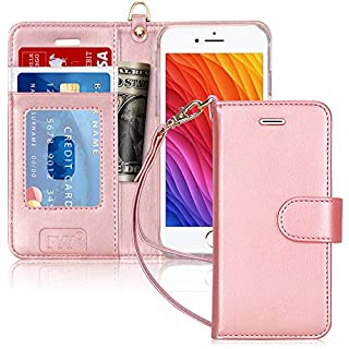 """FYY Case for iPhone 6S / iPhone 6 (4.7""""), [Kickstand Feature] Luxury PU Leather Wallet Case Flip Folio Cover with [Card Slots] [Wrist Strap] for iPhone 6S (4.7"""")(2015) /iPhone 6 (4.7"""")(2014) Rose Gold"""