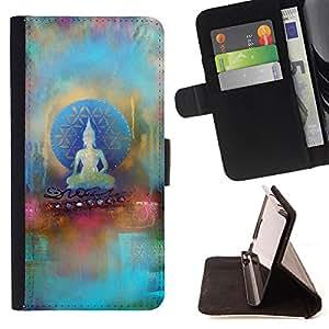 - Buddha - - Monedero PU titular de la tarjeta de cr?dito de cuero cubierta de la caja de la bolsa FOR Samsung Galaxy S4 Mini i9190 Retro Candy