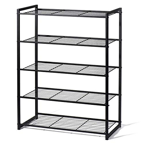 Titan Mall Shoes Rack for Closets Free Standing Shoe Rack 5 Tier Shoe Rack Metal Shoe Rack Shoe Organizer 25 Inch Wide Shoe Tower Shelf Storage ()