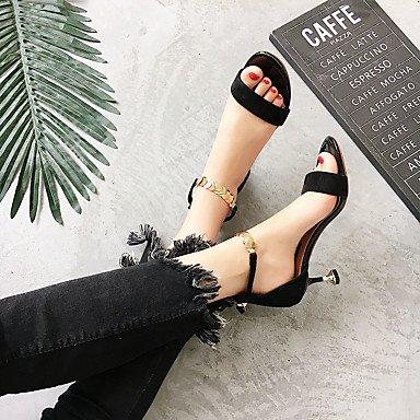 9'5 7'5 Tacón Sandalias Stiletto cms Verano PU Black Confort Mujer Gris Negro Confort LvYuan AYPv0