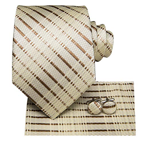 Dubulle Mens Brown Stripe Silk Necktie and Hanky Cufflinks Set Tie and Pocket Square for Business