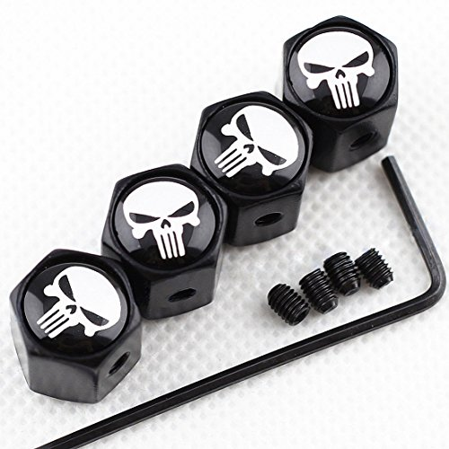 - CHAMPLED New (4PC) for Skull Punisher Styling Logo Metal Black Anti-Theft Wheel TIRE AIR Valve STEM CAPS DUST Cover