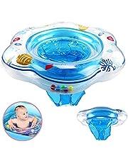 طوق سباحة بكرسي قابل للنفخ للاطفال من بلاستيك بي في سي باكياس هوائية مزدوجة