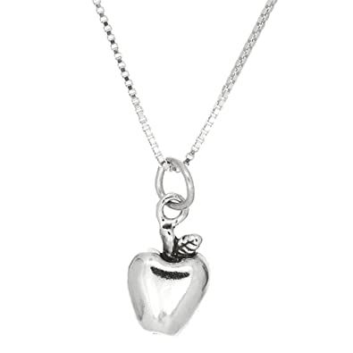 apple necklace. sterling silver oxidized one sided fruit of the spirit apple necklace (16 inches)
