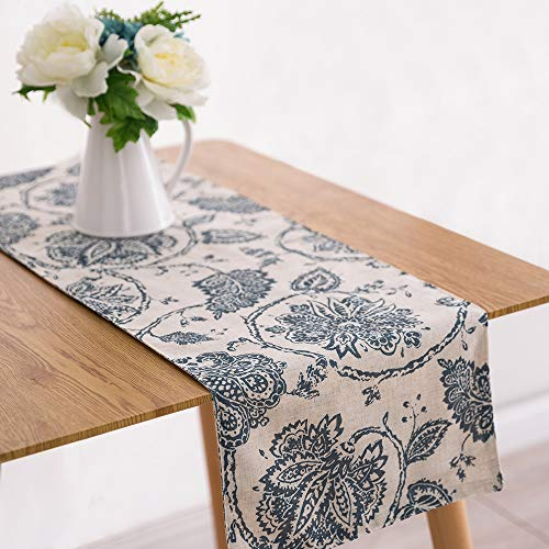 Paisley Table Runner - jinchan Table Cloth Linen Textured Scroll Patten Triangular Decorative Burlap Tablecovers Rustic Floral Design Handcrafted Flax Tablecloths(1 Panel 13