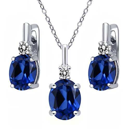 6.97 Ct Blue Simulated Sapphire White Diamond 925 Sterling Silver Pendant Earrings Set by Gem Stone King