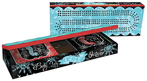 LANG - Cribbage Board Set - ''Winter Magic'', Art by LoriLynn Simms - 2 Decks Poker-size Cards - Hinged Storage Board - 9 Metal Pegs by LANG