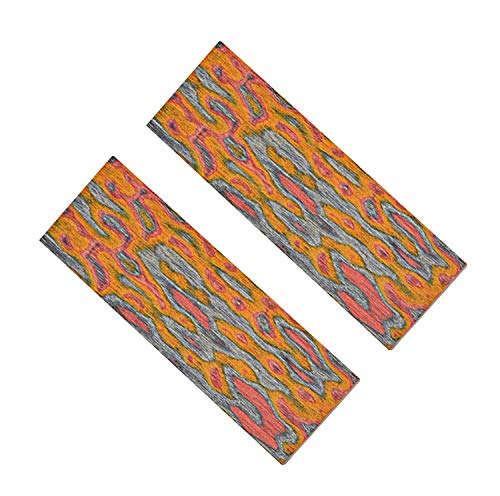 (Aibote 1 Pair 3D Color Flame Pattern Knife Handle Scales Wood Handles Slabs Knives Custom DIY Material Tools for Blank Blades Jewelry Making(Each Pair is Unique))