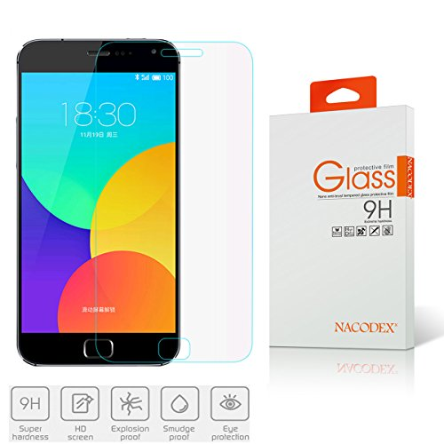 Nacodex Premium Real Tempered Glass Film Screen Protector for Meizu MX5 / MX 5 V - Protect Your Screen from Scratches - Retail Package - 0.26mm Ultra Thin 2.5D Border