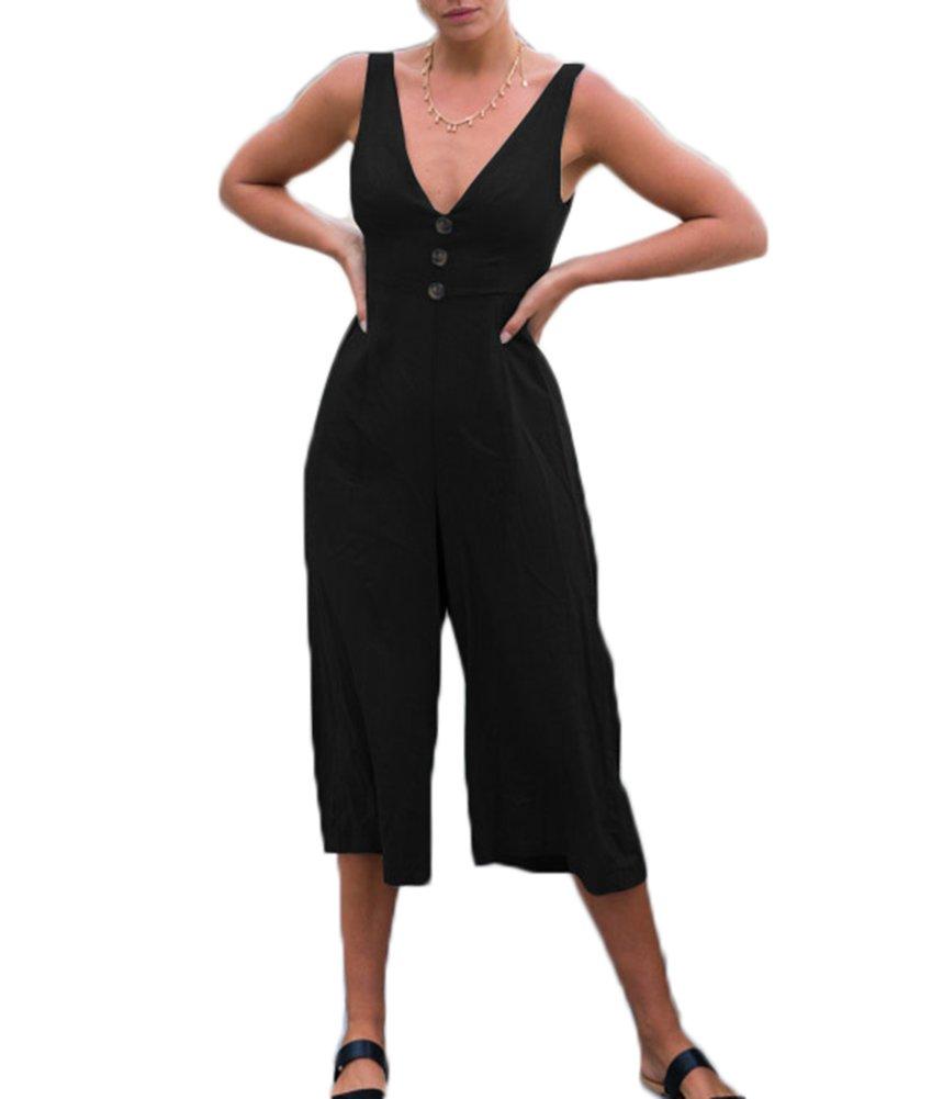 GUOLEZEEV Women Sleeveless Straps V Neck Jumpsuit Cropped Pant One Piece Romper Playsuit L