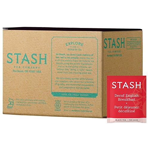- Stash Tea Decaf English Breakfast Black Tea 100 Tea Bags in Foil (Packaging May Vary) Individual Decaffeinated Black Tea Bags for Use in Teapots Mugs or Cups, Brew Hot Tea or Iced Tea