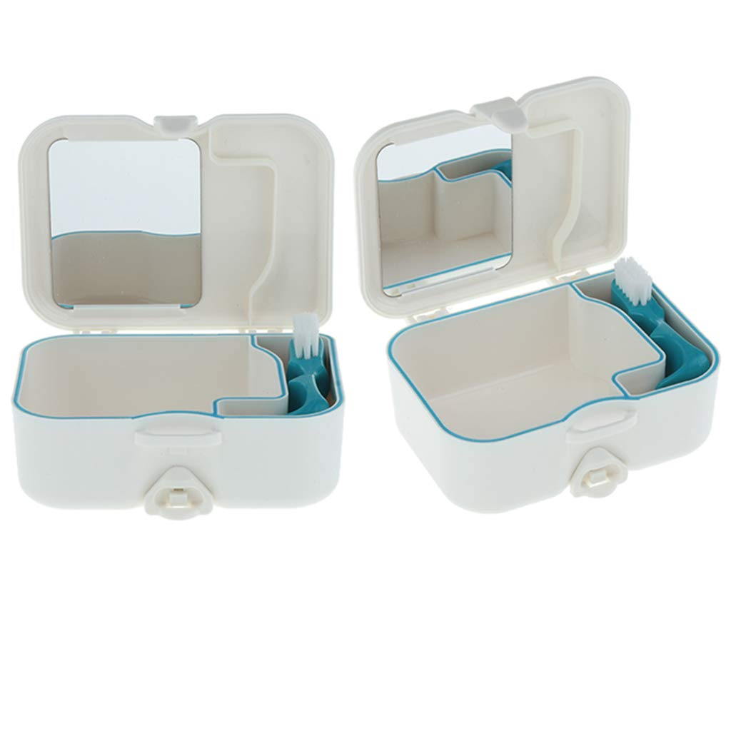 Prettyia 2X, Portable Denture Case with Built In Mirror, Brush Teeth Storage Container Box, Safe Guard Dentures, Easy To Open, Store