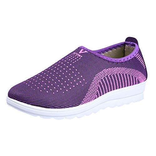 ✶HebeTop✶ Women's Lightweight Walking Athletic Shoes Slip on Breathable Mesh Sneakers Casual Running Shoes Purple